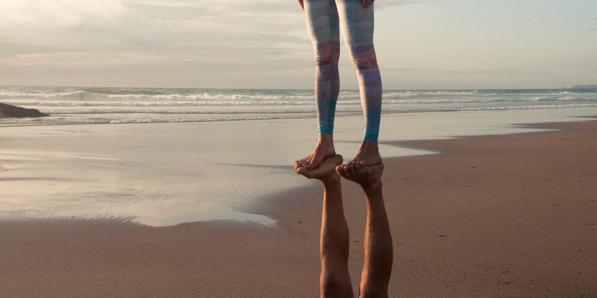 Acroyoga by acrolama foot to foot pose in portugal